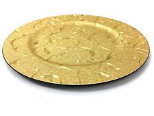 Round Gold Floral Leather Charger Plates Dinnerware Holiday Decor Accent Plate