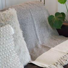 Grey Cotton Throw | Quality Woven Texture & Tassels | Scandinavian & Boho