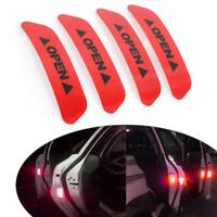 4Pcs Car Door Open Sticker Tapes Super Red Reflective Safety Warning Door Decal