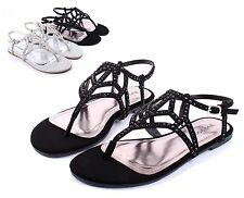 Black BAMBOO Fashion Rhinestone Strappy Womens Sandals Dress Shoes Size 6