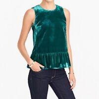J Crew Womens Drapey Velvet Peplum Top Tank Blouse Size 10 Green Sleeveless