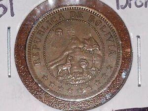 1951 1 Boliviano Bolivia Bronze coin KM# 2126