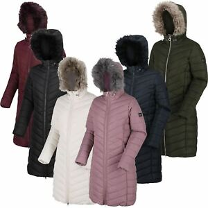 Regatta Ladies Womens Fritha Long Line Quilted Baffle Fur Parka Insulated Jacket