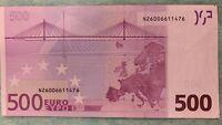 500 euro banknote 2002 Prefix-X (Germany) sign and Prefix-N (Austria) sign J