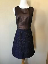 NWT Anthropologie Hutch Lina Metallic Dress, Brown and Navy, Size 14