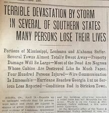 2 1908 newspapers PURVIS TORNADO TRAVELS 150 MILES Kills Hundreds in MISS La ALA