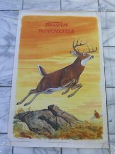 "Original Vintage 1955 JG Woods Western Winchester Leaping Deer Poster 26"" x 40"""