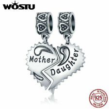 Wostu Mother And Daughter Dangle Charms 925 Sterling Silver Half Heart Charm Set