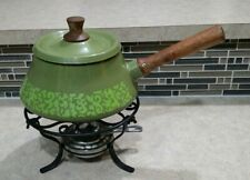 Retro Fondue Pot Avocado Green and Wood Mid Century Made in Japan