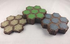 8 7-Hex Heroscape Terrain Tiles (4) Grass, (3) Rock, (1) Sand Replacement