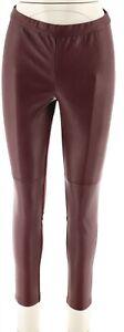 H Halston Petite Faux Stretch Leather Ponte Leggings Bordeaux P2 NEW A294047