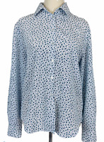 Fletcher Jones Womens White Spotted Long Sleeve Button Up Blouse Size 8