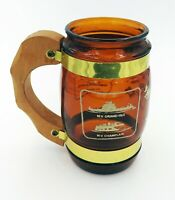 Vintage Steinware Lake Champlain Barrel Mug Brown Glass Golden Nautical Souvenir