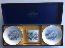Royal Worcester 2 pin dishes spill vase toothpick holder woodland bone china