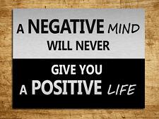 Metal sign metallic inspirational Positive mind quote tin wall home door plaque