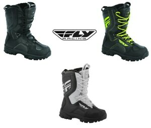 Fly Racing Fly Marker Boots Motorcycle Snow Warm Cold Weather Black Hi-Viz Whit