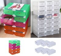 10 Pack Foldable Plastic Shoe Boxes Drawer Stackable Storage Organiser Box Home