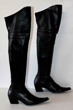 SAN MARINA Bottes Pointues Cuissardes Cuir Souple Noir T 37 TBE