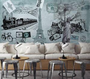 3D Black Train KEP2137 Wallpaper Mural Self-adhesive Removable Sticker Bea