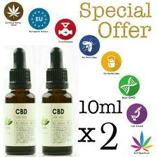 2x10ml (2x1000mg) raw hemp 10% CBDa Full-Spectrum oil Sativa cold pressed