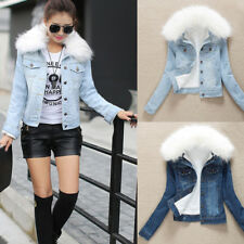 Womens Faux Fur Collar Fleece Lining Sherpa Denim Jacket Short Thicken Jean Coat