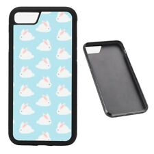 Cute White Bunny Pattern RUBBER phone case fits iPhone
