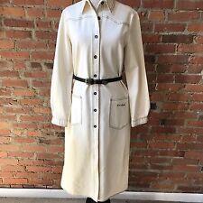 Vintage Gloria Vanderbilt Womens's Coat Jacket White Cotton Belted Long 6