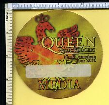 Queen & Paul Rodgers 2006 Cloth Media Pass; Backstage Pass; Orange; Round