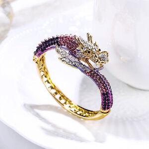 Dragon Bangle Women Animal Bracelet Crystal Party Jewelry Gift Gold Tone Enamel