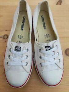 Converse Ballet Dance Slip On Lace Pumps White Size Uk 6