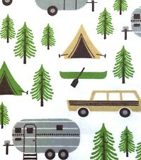 GREY CAMPERS/TAN TENTS/CANOES/PINE TREES ON WHITE FLANNEL MATERIAL 2 YDS 42x72""