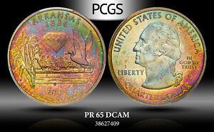 2003-S U.S STATE QUARTER ARKANSAS PCGS PR65 DCAM SILVER NEON COLOR TONED GEM