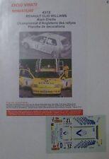 RENAULT CLIO WILLIAMS MANX RALLYE 1995 ALAIN OREILLE CHAMPION D'ANGLETERRE DECAL