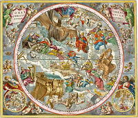 1660 Andreas Cellarius Christian Celestial Map Chart Constellation Print Poster
