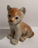 """Vintage Russian Lomonosov Porcelain Sitting Lion Cub Figurine 4.5""""H X 4"""" L EUC"""