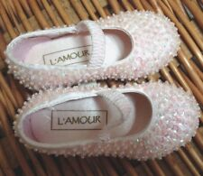 PINK Toddler SHOES BLING SEQUINS Diva GLAM 3.5 4 Girls Unworn L'AMOUR Mary Janes