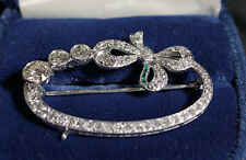 VINTAGE PLATINUM, DIAMOND, EMERALD LADIES RIBBON BROOCH - $4500 appraisal