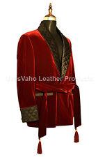 Men Elegant Luxury Designer Maroon Belted Smoking Jacket Party Wear Blazer UK