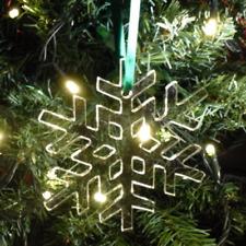 Clear Crystal Snowflake Christmas Tree Decorations & Satin Green Ribbon, Pack 10