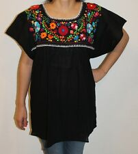 Black Peasant Boho 100% Gauze Cotton Mexican Embroidered Blouse Top Medium