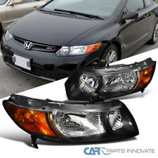 Fit 2006-2011 Honda Civic 2Dr Coupe Black Clear Headlights+Amber Corner Lamps