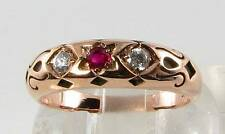 DIVINE 9CT ROSE GOLD STAR OF DAVID INDIAN RUBY DIAMOND GYPSY RING FREE RESIZE