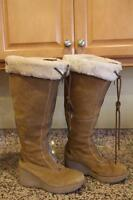 COLE HAAN Women's Tan Suede Leather Wedge Winter Boots Size 9B #D18835 (D1400