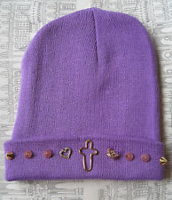 PURPLE HEART CROSS CROWN STUD BEANIE HAT INDIE HIPSTER GRUNGE BEENIE FESTIVAL