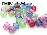 300 x Mixed Acrylic 4mm Faceted Cube Beads F106