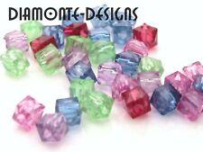 300 x mixte acrylique 4 mm perles cube à facettes F106