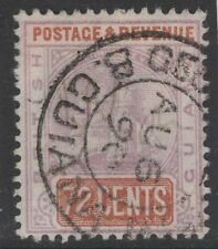 BRITISH GUIANA SG203 1889 72c DULL PURPLE & RED-BROWN USED DUBIOUS CANCEL
