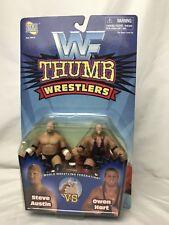 WWF Thumb Wrestlers Stone Cold Steve Austin vs Owen Hart Jakks Pacific WWE MOC