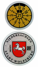 German License Plate Registration Seal - Wolfsburg VW 2021 Set