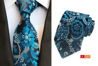 Navy Blue Silver Tie Pocket Square Set Flower Patterned Handmade 8cm 100% Silk